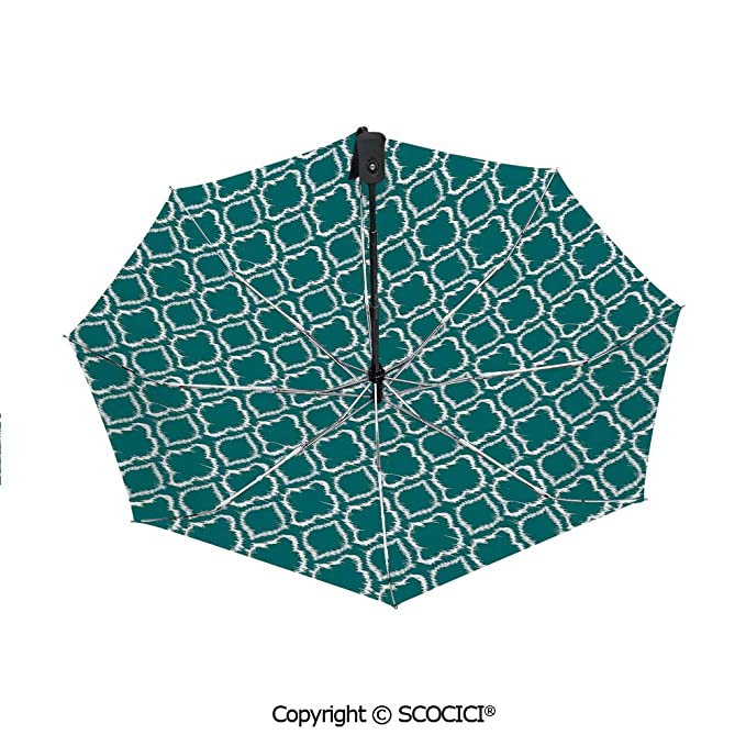 Abstract Colorful Pattern Shape Automatic Windproof Travel Umbrella Compact Canopy With Black Glue And UV-resistant Coating