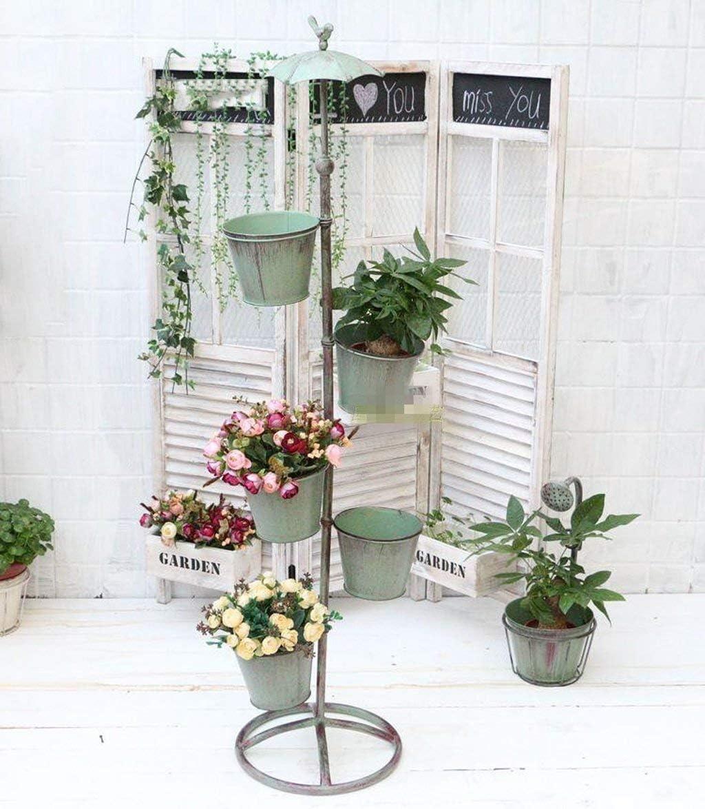 LNDDP Paraguas Estante Flores Estantes Cubo Retro Olla Hierro Estantes exhibición Decorativos Estante exhibición Dos Niveles Estante Soporte Planta Organizador 2 Colores