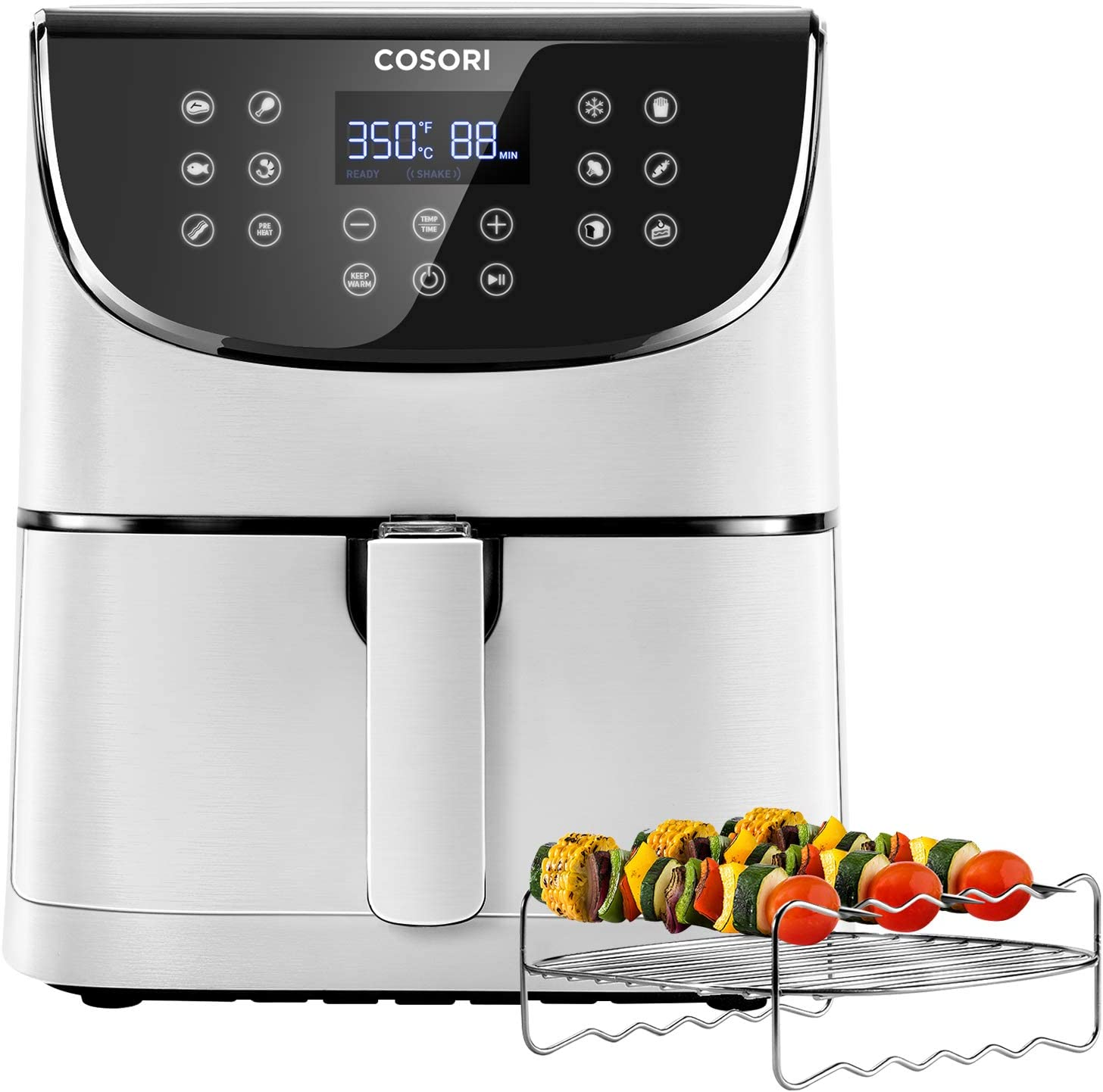 COSORI Air Fryer(100 Recipes, Rack&4 Skewers),3.7QT Electric Hot Air Fryers Oven Oilless Cooker,11 Presets,Preheat& Shake Reminder,LED Touch Digital Screen,Nonstick Basket,1500W,White