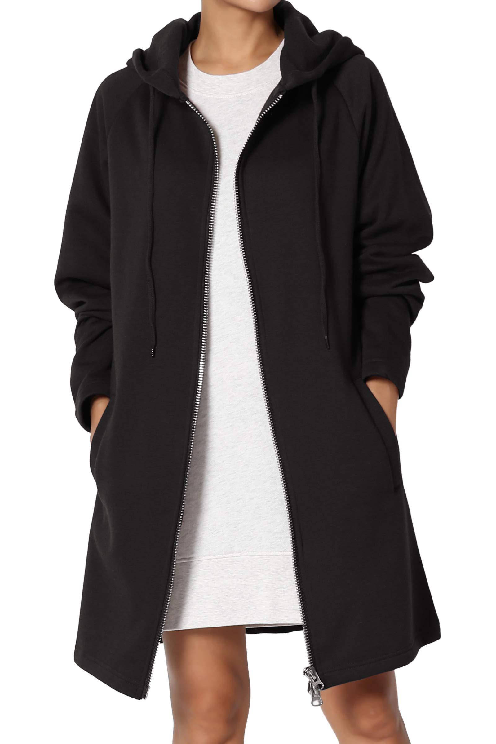 TheMogan Women's Hoodie Oversized Zip Up Long Fleece Sweat Jacket Black S/M