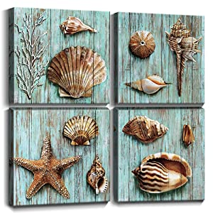 YOOOAHU Ocean Themed Wall Decor Bathroom Teal Cyan Shell Canvas Art Coastal Beach Sea Love Painting Rustic Vintage Blue Green Conch Framed Pictures Living Room Decoration Set of 4 Panel 12 x 12 Inch