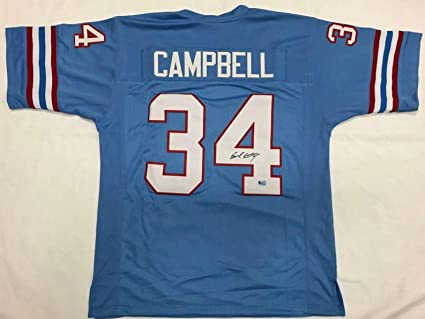 hot sale online 68c64 713fe Autographed Earl Campbell Jersey - Blue Exclusive Hologram ...