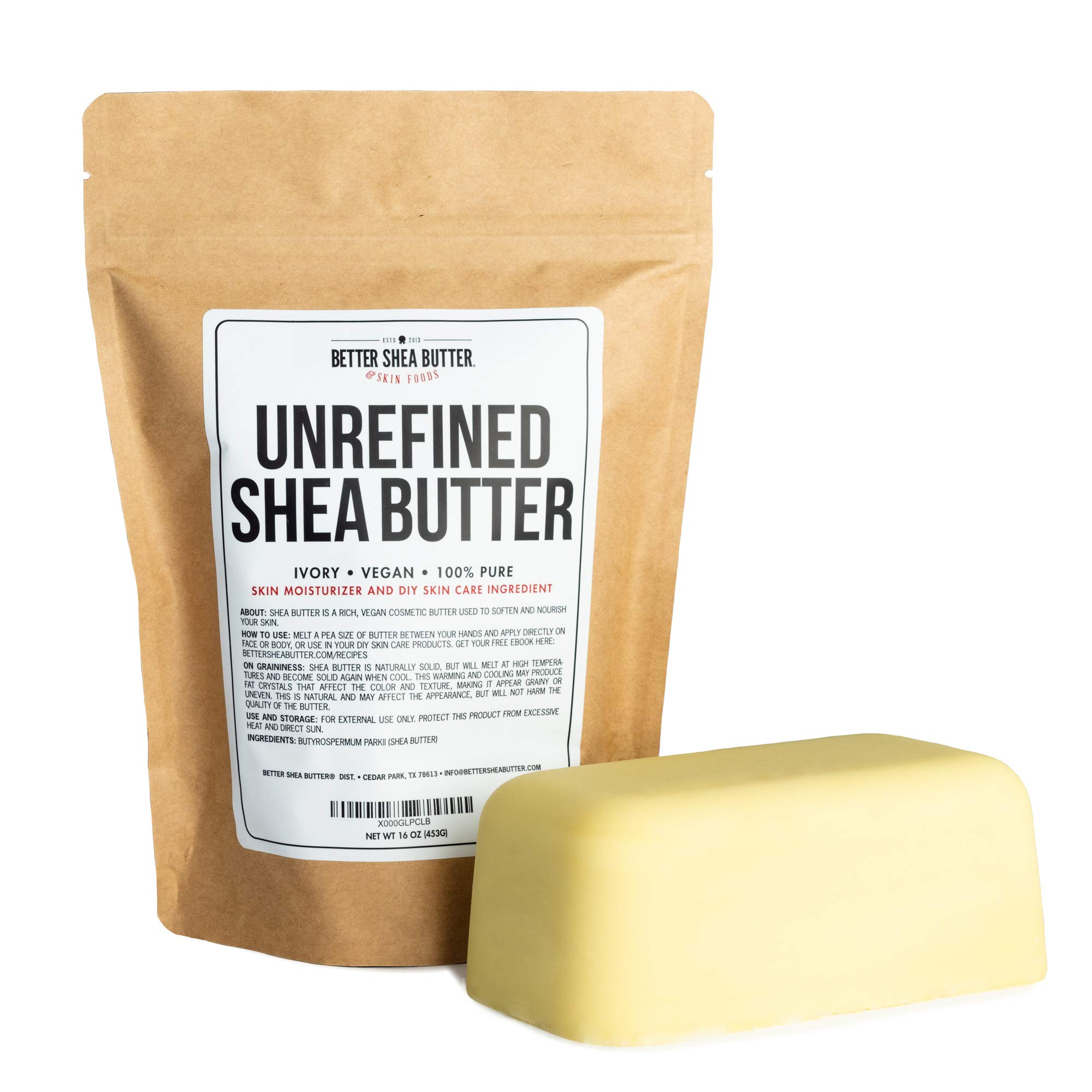 Unrefined African Shea Butter - Ivory, 100% Pure & Raw - Moisturizing and Rich Body Butter for Dry Skin - Suitable for All Skin Types - Use Alone or in DIY Whipped Body Butters - 16 oz (1 LB) Bar by Better Shea Butter