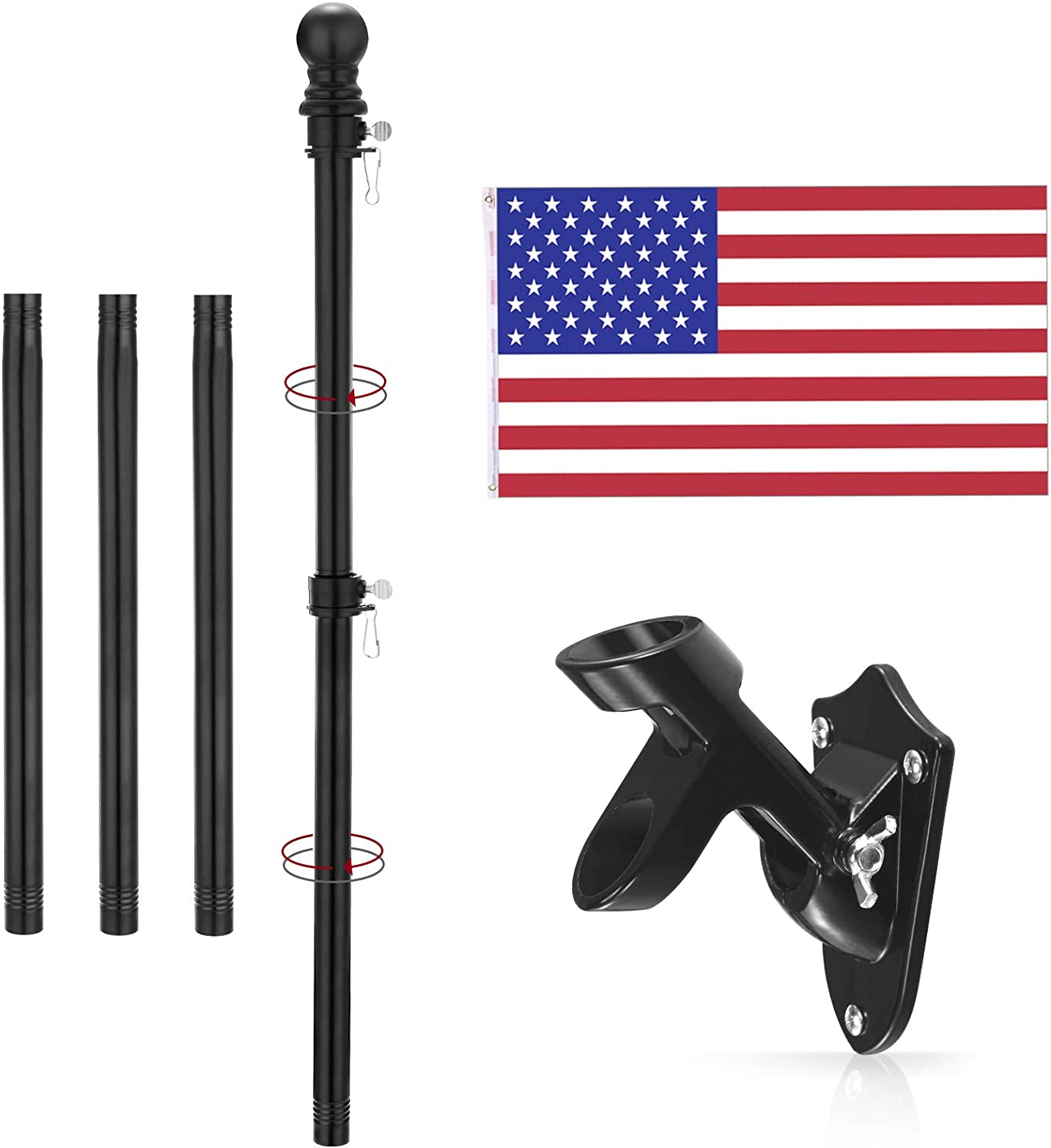 Yeesun Flag Pole Kit,6 Foot American Flag Pole & Bracket-Flagpoles for 3 x 5 Flags Holder for Home Porch & Outdoor,Tangle Free and Wall Mount Metal Flag Pole with Flag (Black)