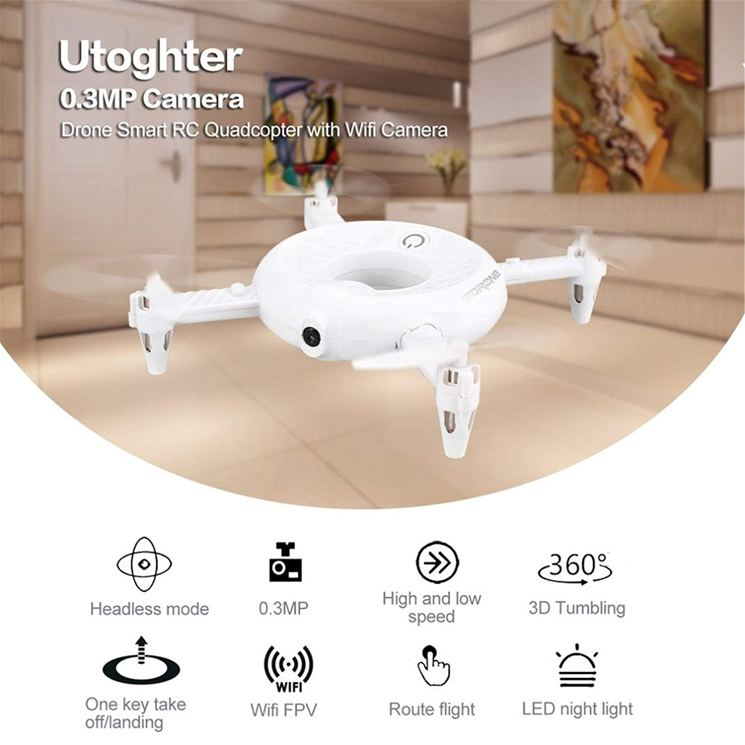 Happy Event Smart RC RC RC Quadcopter 0.3MP HD Kamera WiFi FPV Höhenstand LED Taschen Drohne (Weiß) 9180d2