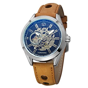 FORSINING Mens Exposed Mechanical Vintage Skeleton Clock Male Antique Steampunk Automatic Leather Watches