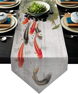 LEO BON Dining Table Runner Traditional Japanese Style with Koi Fish Lotus Flowers Folk Modern Design Table Runners for Kitchen Table Dresser, Indoor-Outdoor, Farmhouse, Rustic, Weddings,18x72inch