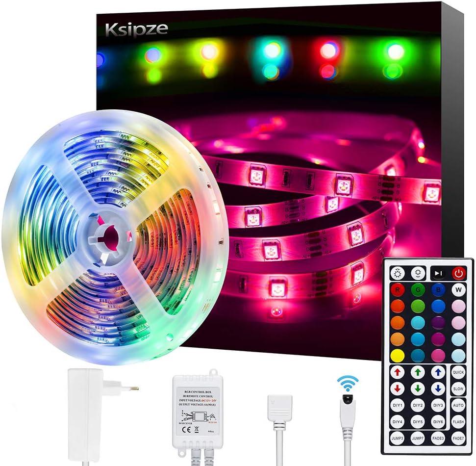 Tiras LED,Ksipze 5M Tira LED 12V RGB de Longitud Luces LED Habitacion Multicolor Control Remoto de 44 Botones y Fuente de Alimentación para, TV,Dormitorio, Techo, Decoración Habitación de Armario