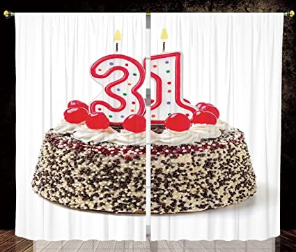 Thermal Insulated Blackout Window Curtain31st Birthday DecorationsCake Thirty One Candles Chocolaty Desert
