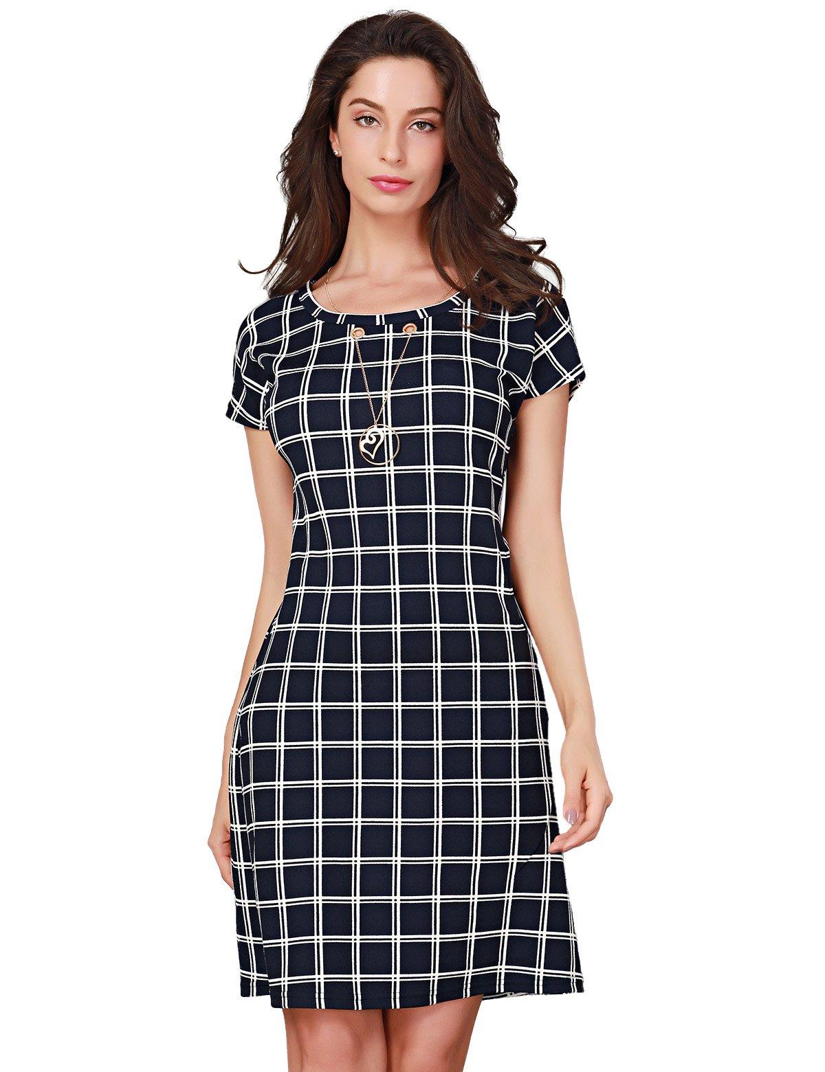 Triplewood Women's Elegant Short Sleeve Wear to Work Casual Business Check Dress Pocket