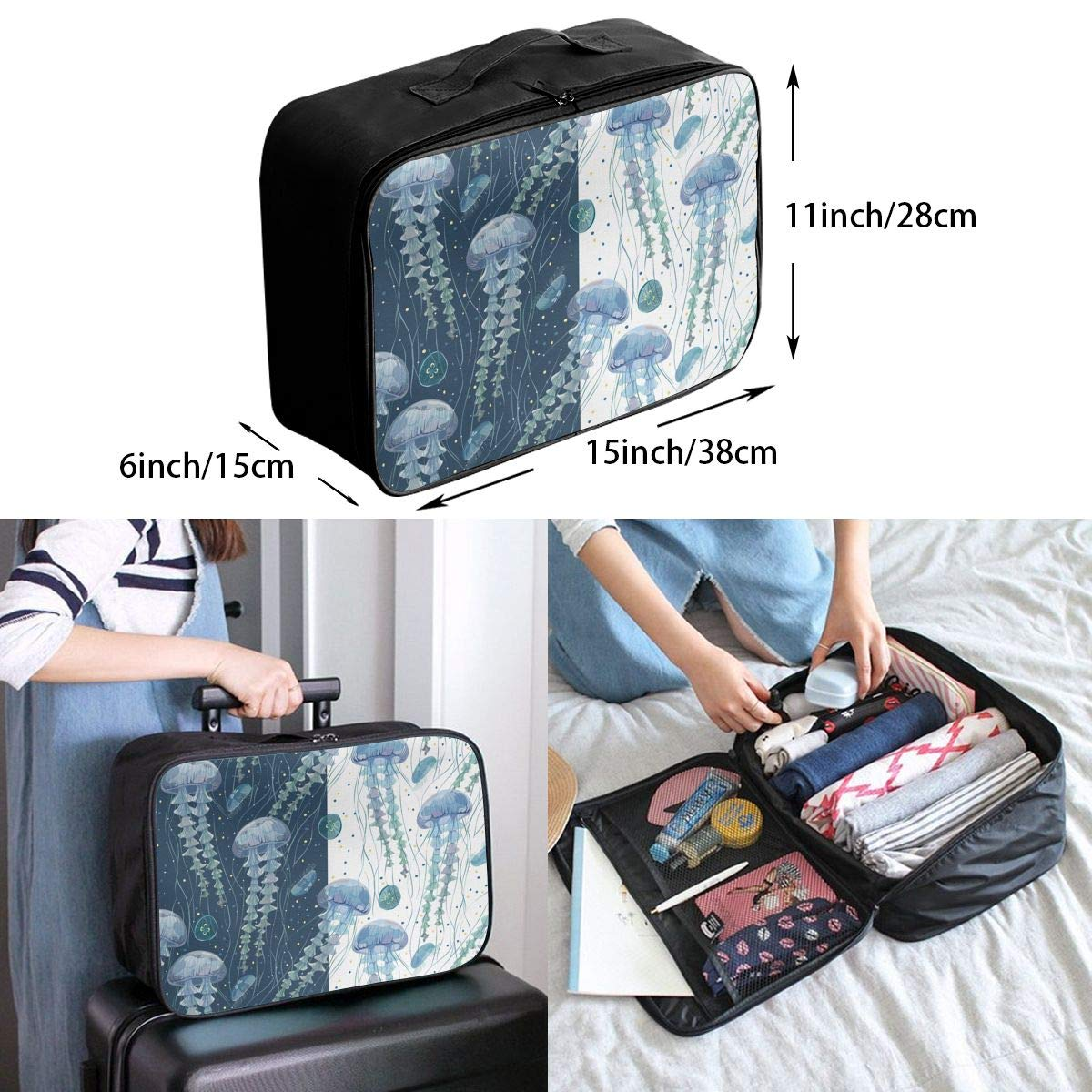 YINLAN Foldable Multifunctional Waterproof Duffel Travel Storage Bag Color Elephant Pattern Lightweight Large Capacity Portable Luggage Bag