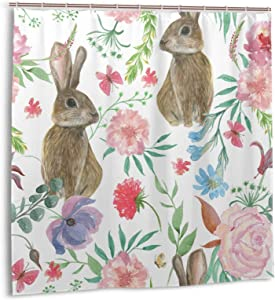 Easter Rabbit Shower Curtain Gray Easter Rabbit Colorful Blossom Floral Flower Green Leaves Shower Curtain Rustic Farmhouse Forest Bath Curtain Watercolor Waterproof Bottom Weighted Bathroom Decor