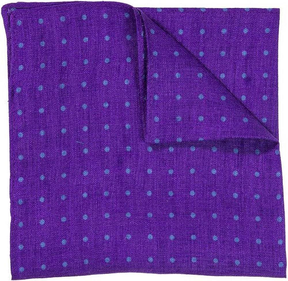 40 Colori Mens Dotted Pocket Square Purple//Petrol Blue