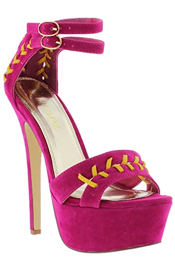 c671d50be1aa Liliana Double Ankle Strap High Heel Sandal Pumps Moet-7 (7) Fuchsia