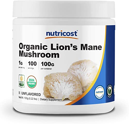 Nutricost Organic Lion s Mane Mushroom Powder 100 Grams – Certified USDA Organic