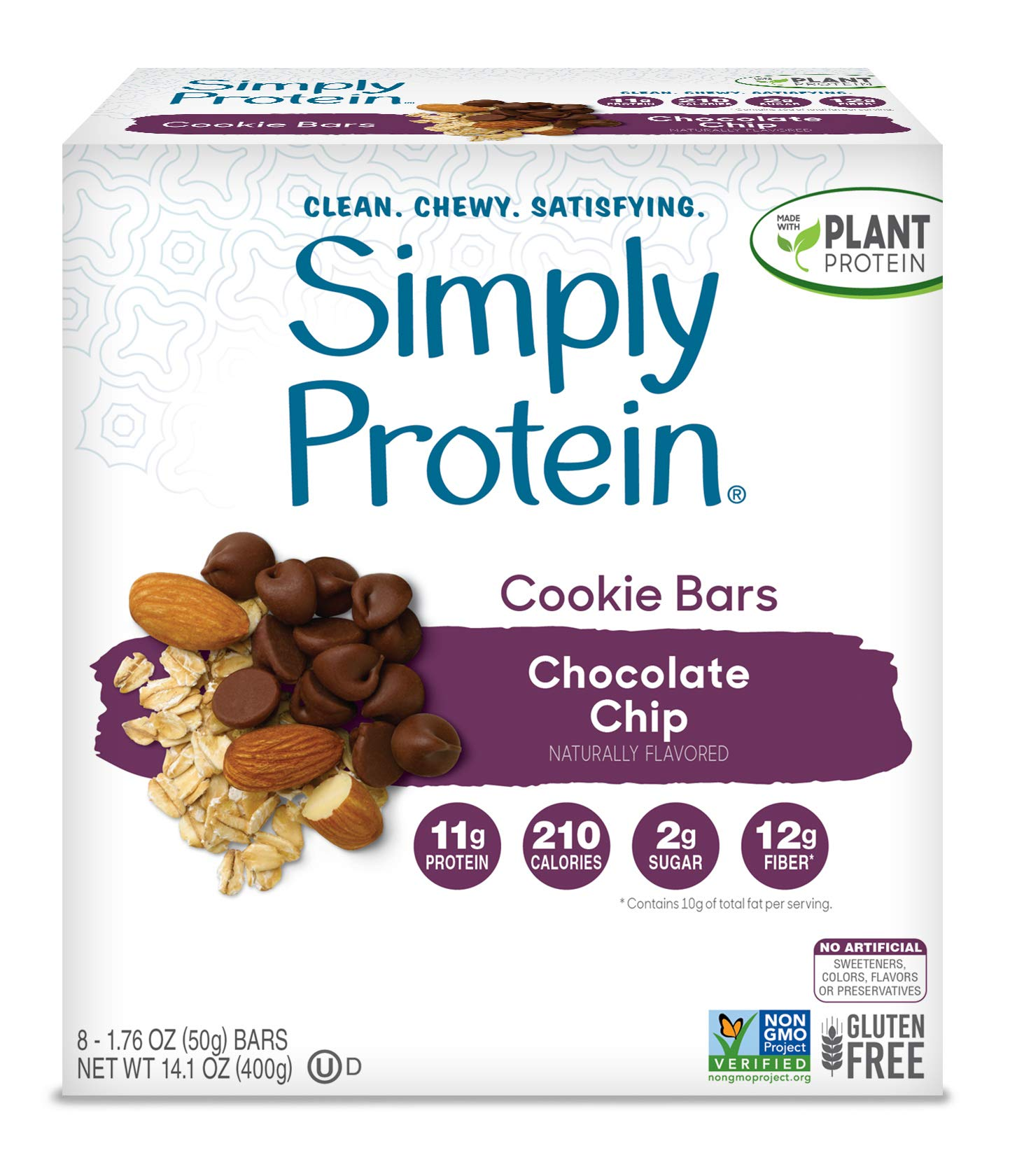 SimplyProtein Cookie Bars. Clean and Light Crispy Bars with Plant Based Protein. (Chocolate Chip, 8 Pack)