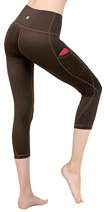 e4fc85c07f4 Amazon.com  MYoga Women s High Waist Yoga Pants Workout Running Capri  Leggings Active Athletic Leggings with Side Pockets  Clothing