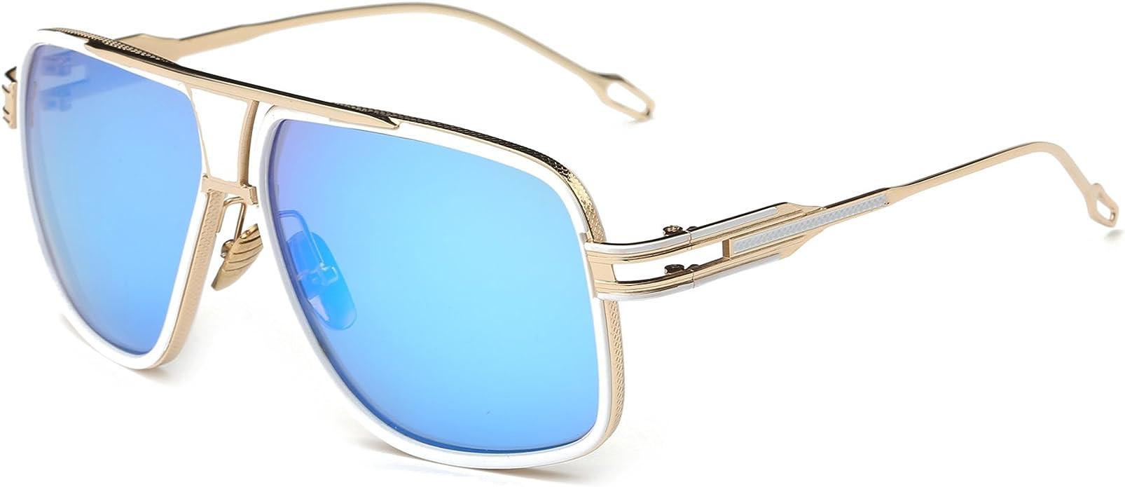 Case Mens Ladies Metal Designer Retro Pilot Vintage Gold Brown Sunglasses