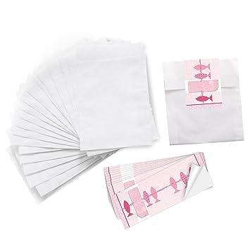 10 Kleine Papiertüten Weiss 105 X 14 10 Aufkleber 3