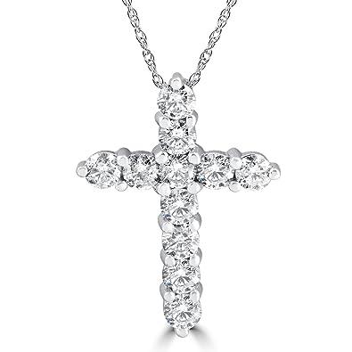 Amazon 3ct diamond cross pendant 14k white gold womens round 3ct diamond cross pendant 14k white gold womens round brilliant cut 18quot aloadofball Image collections