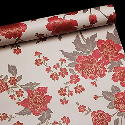 SimpleLife4U Vintage Red Peony Removable PVC Shelf Drawer Liner Home Decor Contact Paper 17x118 Inch