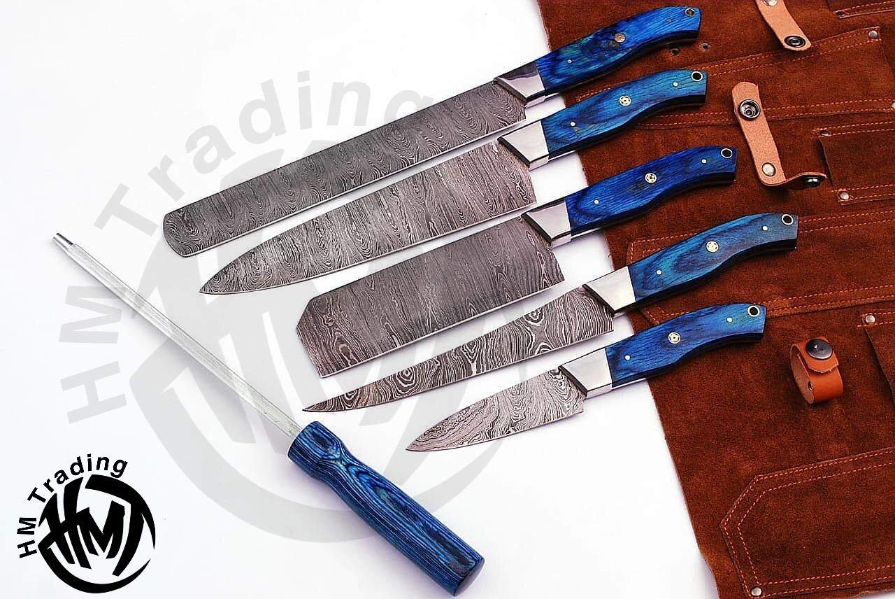 HM-(Blue) Custom Made Damascus Steel #6 Pcs of Professional Utility Kitchen knives Set Comes with Sweet Leather Roll Kit (3709)