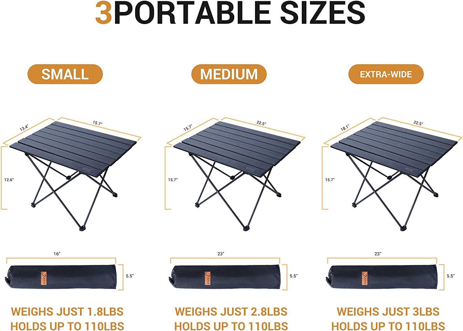 Office Nice C Folding Table Festival Aluminum Collapsible Table top Portable Camping Table Cooking BBQ Indoor Ultralight Compact with Carry Bag for Outdoor Beach Picnic