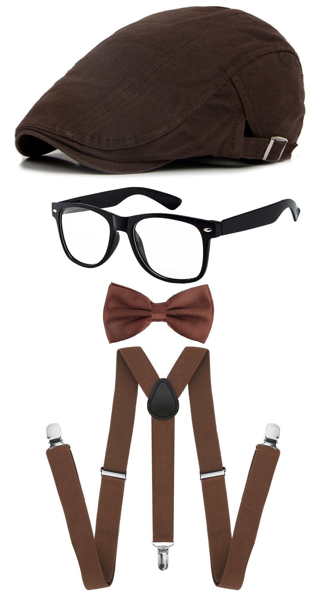 Classic Gatsby Newsboy Ivy Hat,Suspenders Y-Back Trouser Braces,Pre Tied Bow Tie,Non Prescription Glasses (Knitting - Dark Coffee)