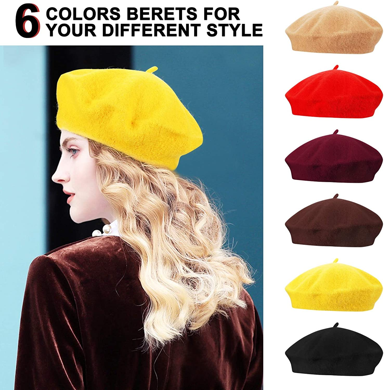 Anteer 6 Pieces Wool Beret Hat French Style Beanie Hats Fashion Ladies Beret Caps for Women Girls Lady