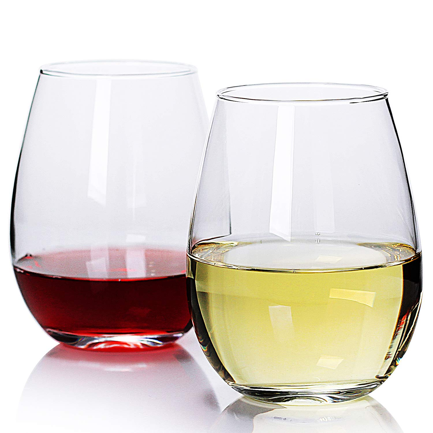 Bavel Stemless Wine Glasses,19oz,set of 4,Large Stemless Glass Holds Full Bottle of Wine.Red Wine /& White Wine glasses sets for retirement,gifts,clear