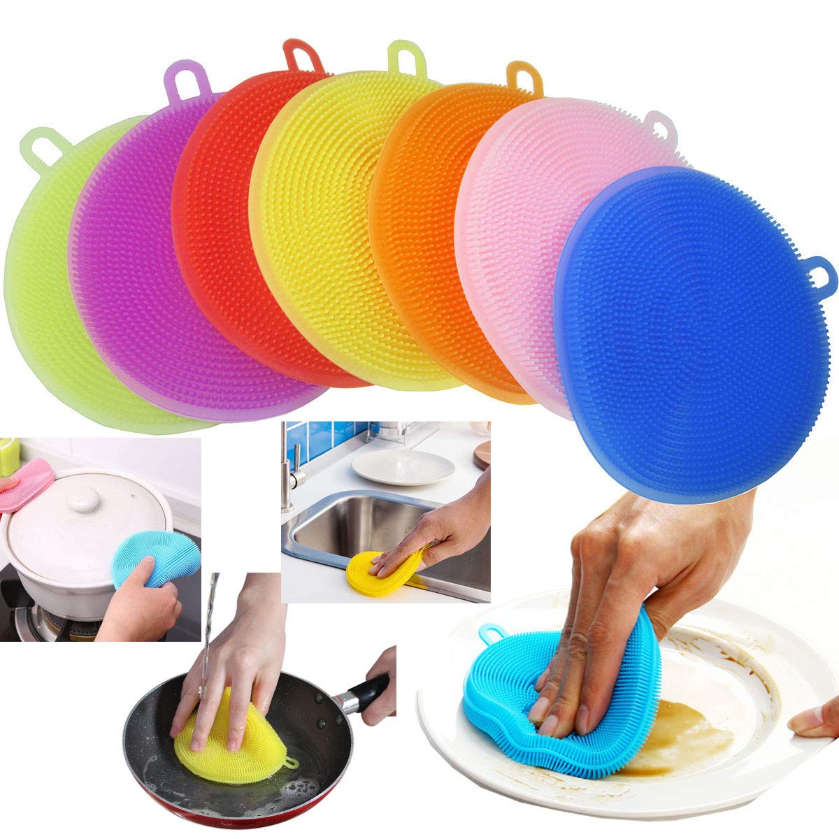 AUSAYE Silicone Sponge (7 Pack) Dish Washing Scrubber Non Stick Cleaning Sponge Food-Grade Better Sponge Dishwasher-Safe Dish Brush Kitchen Scrubber