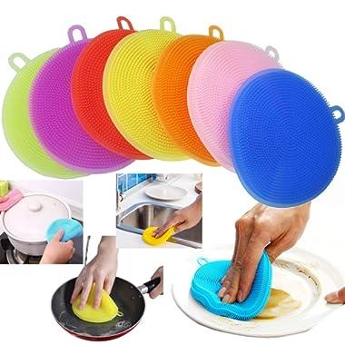 Food-Grade Silicone Sponge Dish Scrubber-AUSAYE 7 Pack Antibacterial Magic Non Stick Cleaning Sponge Mildew-Free Better Sponges,Dishwasher Safe Dish Brush -Smart Kitchen Scrubber Accessories