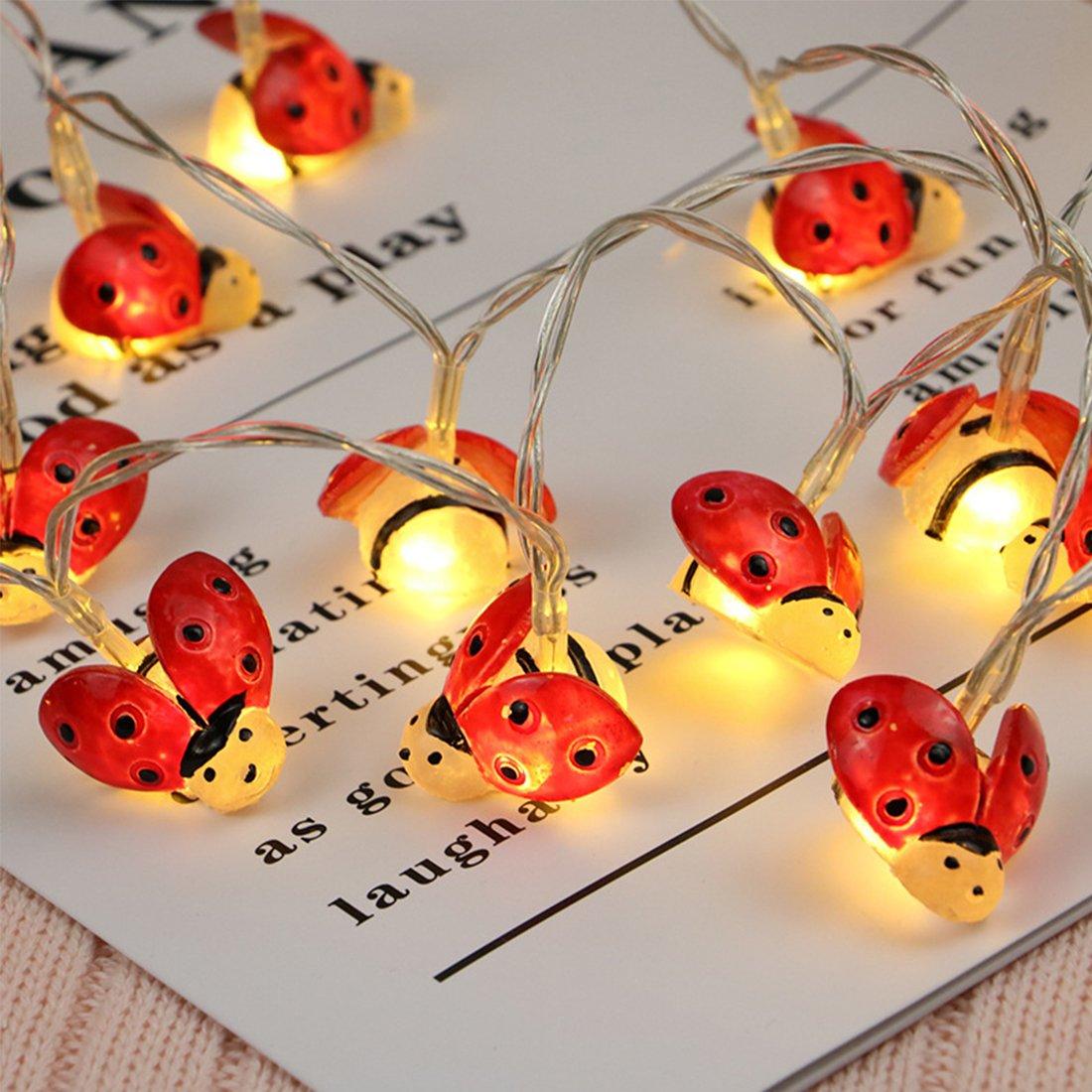 fantastic me Cute Red Ladybug Shape Fairy Lights - 6.6 ft 20 LED String Light, Decoration for Christmas Tree Festival Wedding Nursery Room Kids Bedroom-Battery Operated