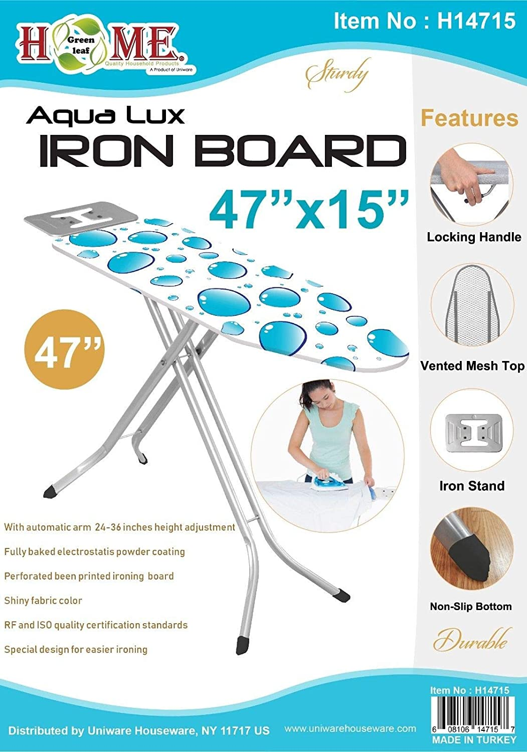 Uniware Turkey Ironing Board With Iron Rest Large Colors May Vary, 43 Inch