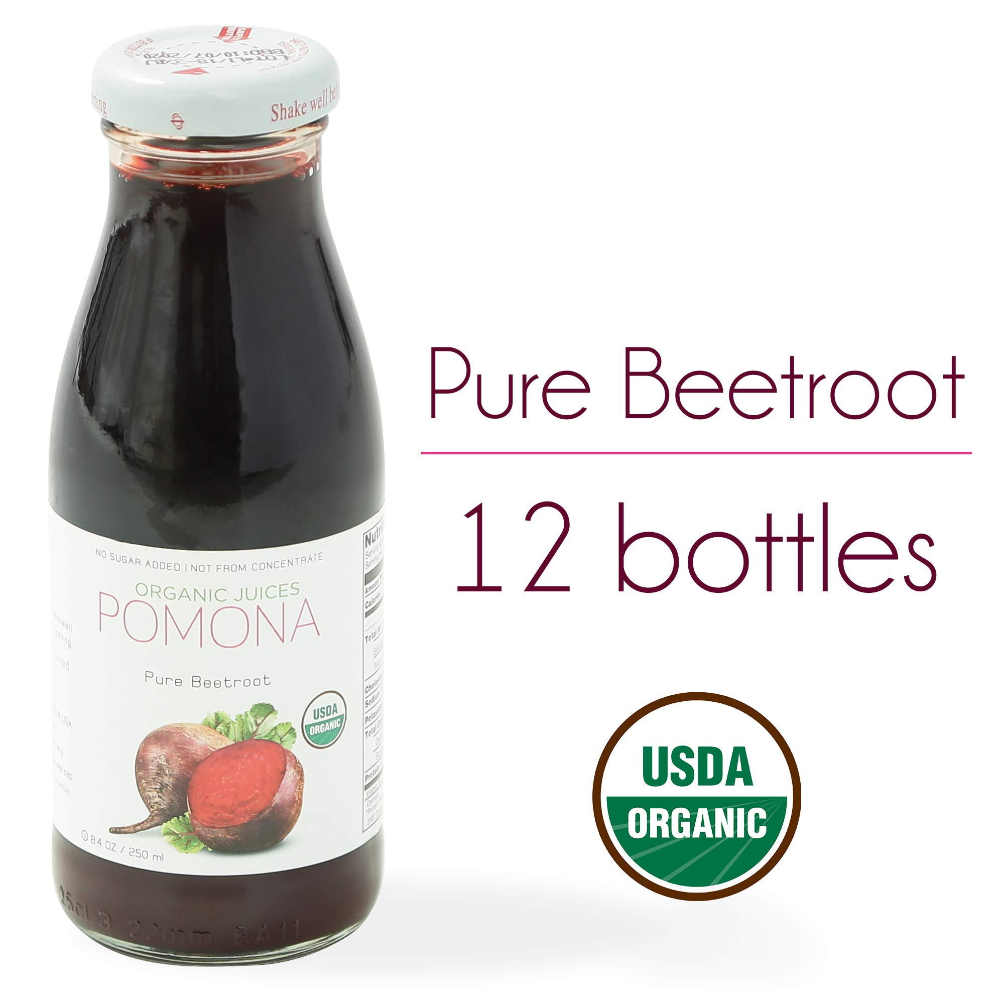 POMONA Organic Pure Beet Juice, 8.4 Ounce Bottle (Pack of 12), Cold Pressed Organic Juice, Non-GMO, No Sugar Added, Not from Concentrate, Gluten Free, Kosher Certified, Preservative Free