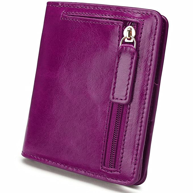 YALUXE Women s Mini Small Leather Pocket Wallet with ID Window Fushcia  Purple 138610174d