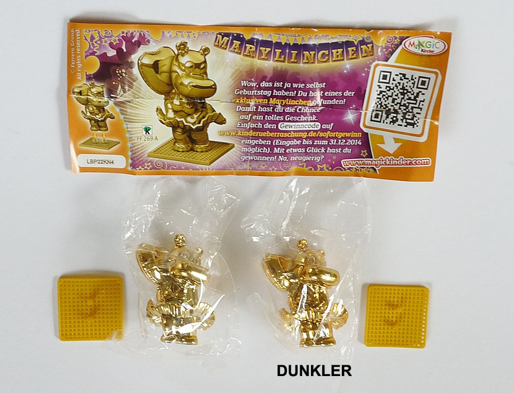 Kinder Überraschung, Goldene Marylinchen, wo die Goldfarbe dunkler ist (Ü-Ei Variante)