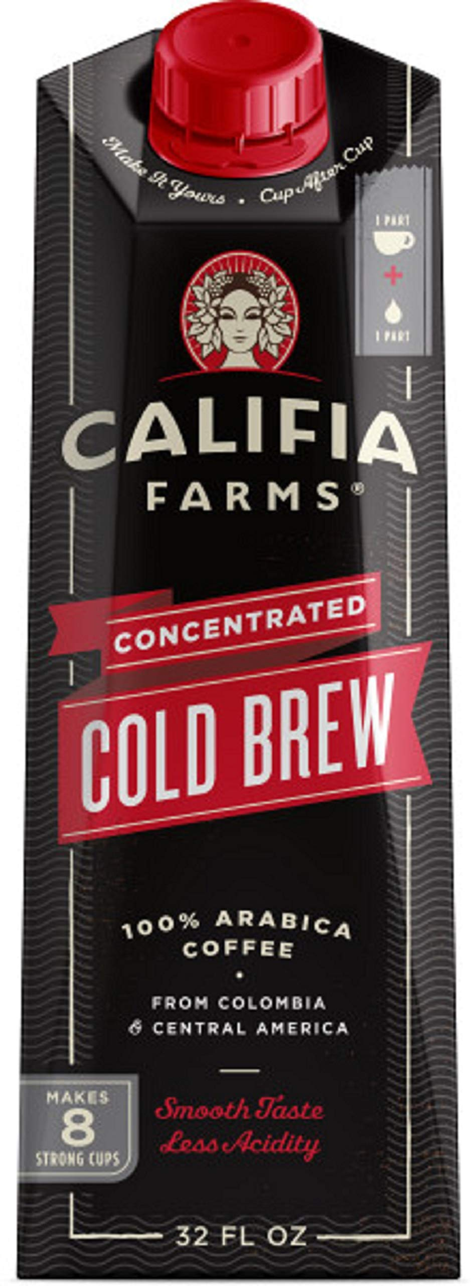 Califia Farms Black Unsweetened Concentrated Cold Brew Coffee, 32 oz (Pack of 6) | Makes 48 Servings | Clean Energy | Smooth & Balanced | Whole30 | Keto by Califia Farms