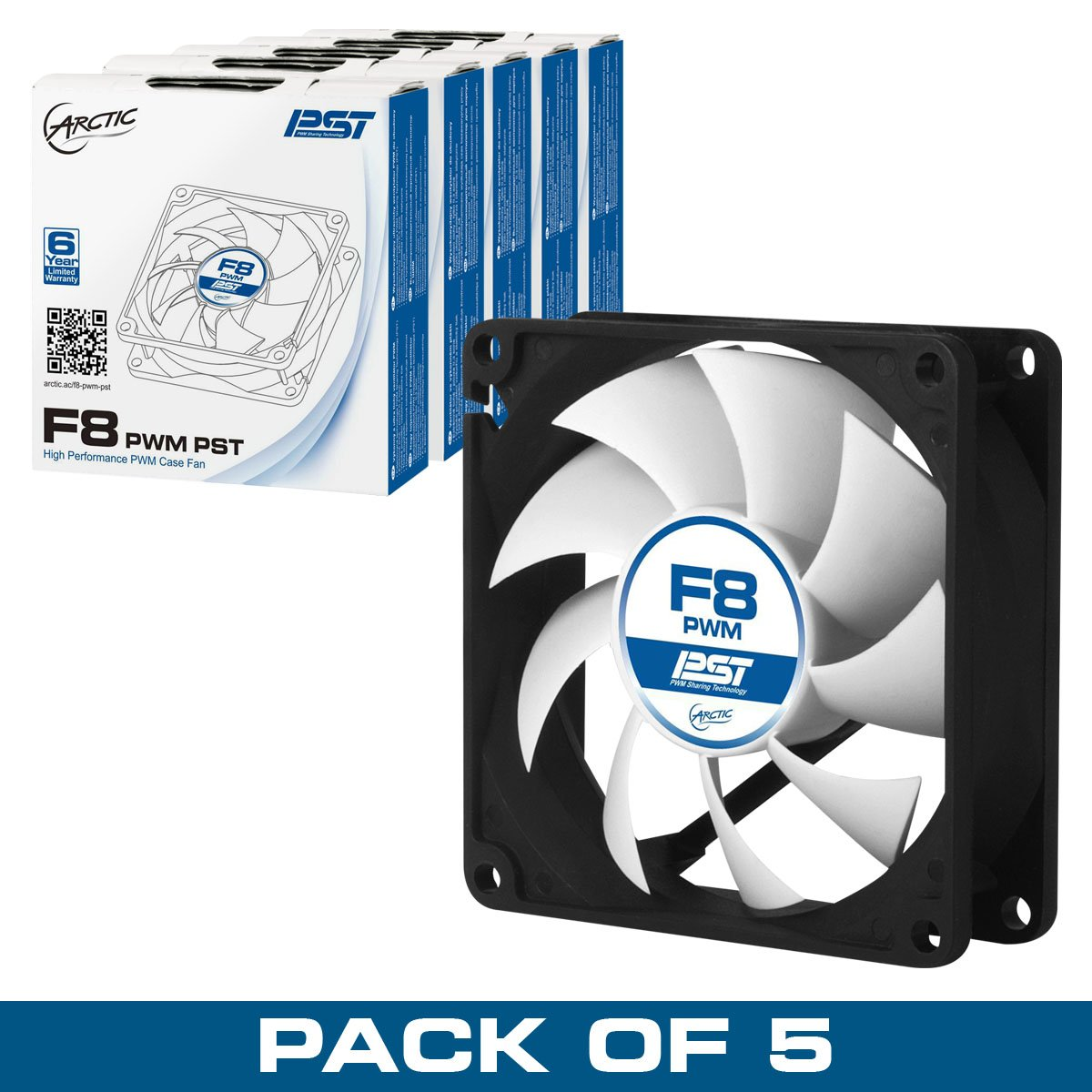 ARCTIC F8 PWM PST - Value Pack (5pc) - Standard Low Noise PWM Controlled Case Fan with PST Feature