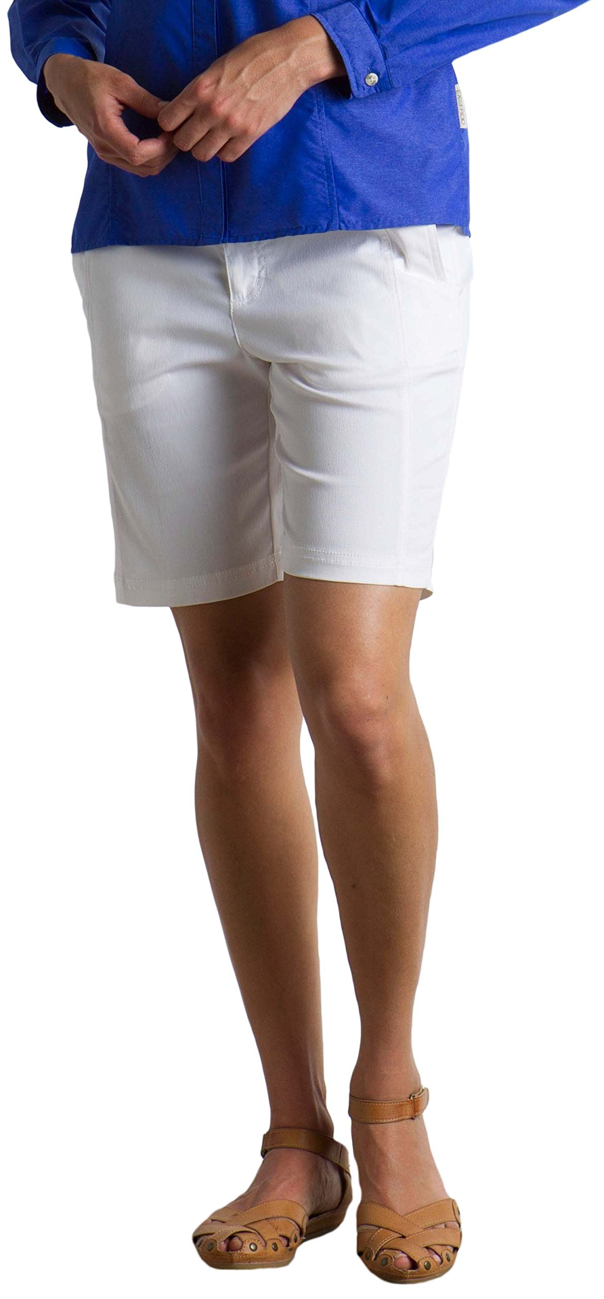 ExOfficio Women's Costera Lightweight Bermuda Shorts, White, Size 4 by ExOfficio
