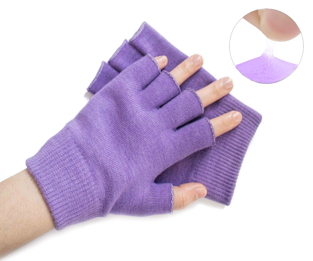 Hocee Moisturizing Gel Gloves Touch Screen Spa Moisture Skin Care Soft Cotton with Gel Repair Heal Eczema Cracked Dry Hand, Gel Lining Infused with Essential Oils and Vitamins, A Pair (Purple)
