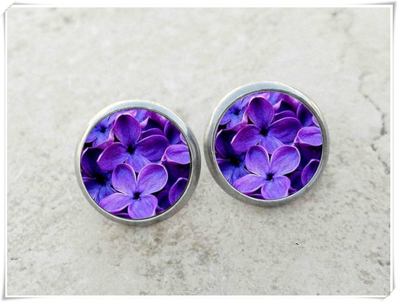 Elf House - Pendientes de lila, cúpula de cristal, puro hecho a mano