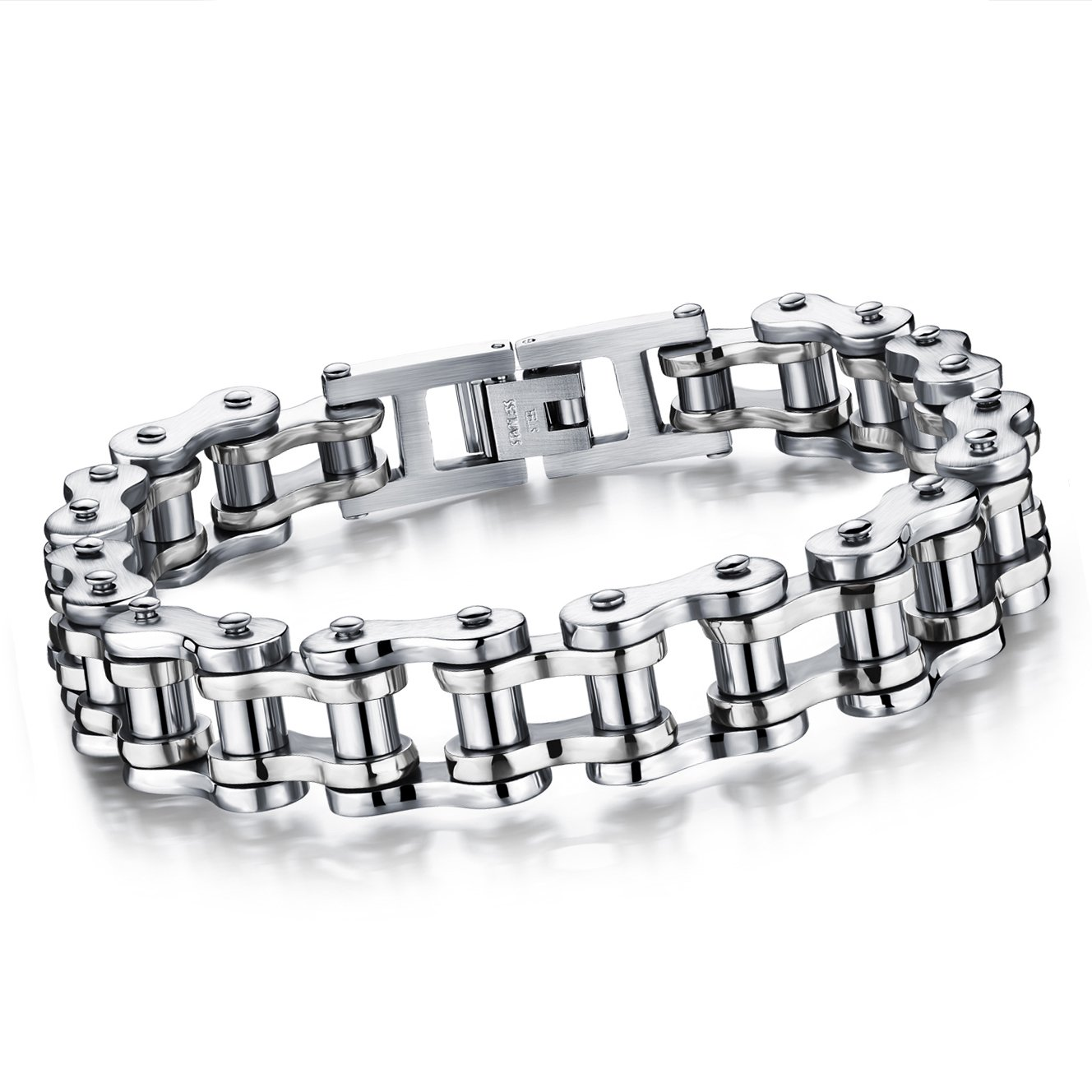 Cupimatch Cool Silver Stainless Steel Motorcycle Biker Chain Bracelet Punk Rock Link Wristband for Men, 8.5 8.5 C006058