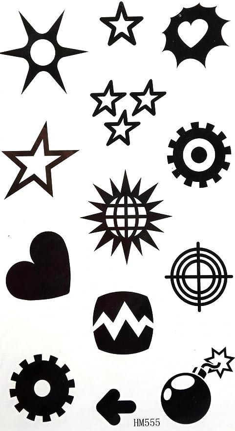 Spestyle Ticker Body Art Disegno Del Tatuaggio Stella Sole Cuore