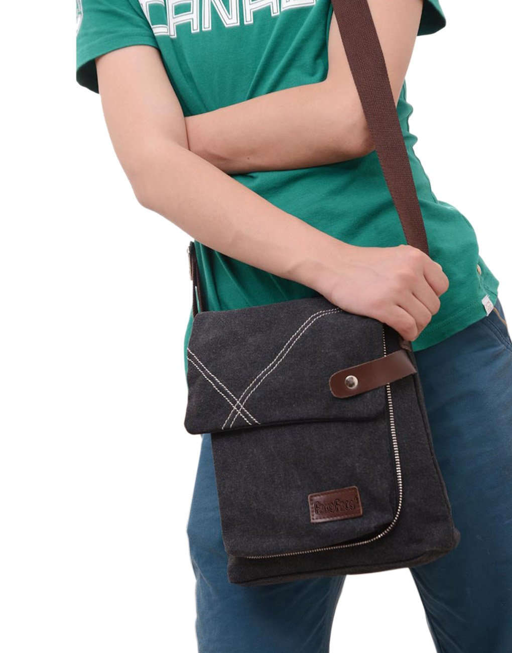 Mens Vintage Canvas Messenger Cross Body Bag Travel Casual Small Shoulder Bag Pack