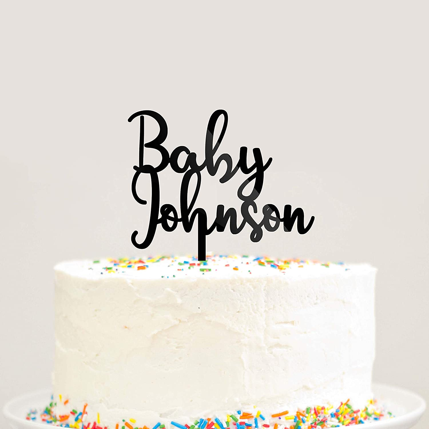 Custom Personalized Baby Last Name Baby Shower Cake Topper Modern Cursive Script Cake Topper Black Acrylic Pick