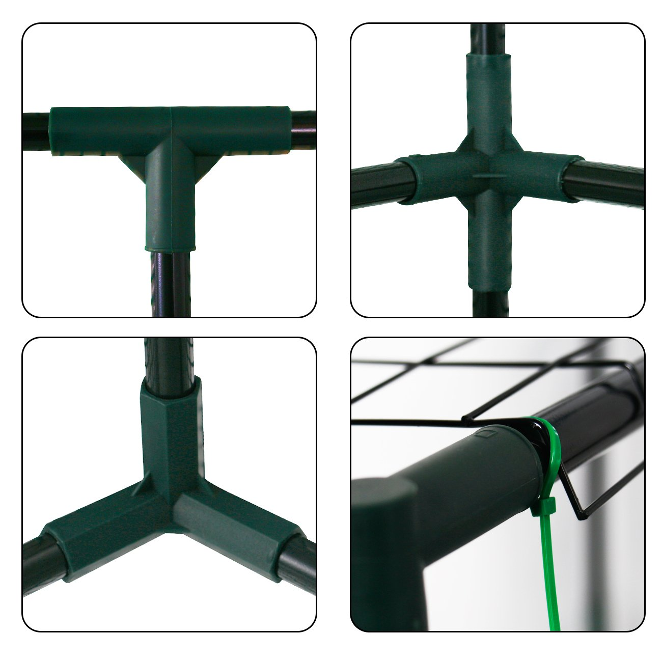 AODAILIHB Reinforced PE Net 6 Layers 8 Shelves Greenhouse Suitable for Lawn and Garden Steel Structure Assembly, 8 Fixed Buttons 4 Floor Fasteners, H x L x W:76.77 x 56.29 x 56.29 inch (02) by AODAILIHB (Image #6)