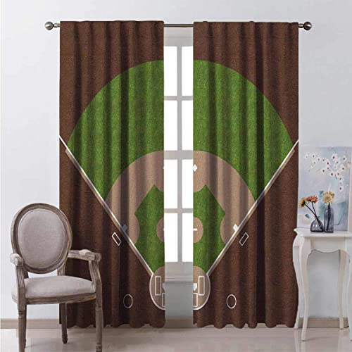 HELLOLEON Boys Room Wear-Resistant Color Curtain American Baseball Field White Mar s Painted on Grass Print 2 Panel Sets W100 x L84 Inch Lime Green Chocolate Tan