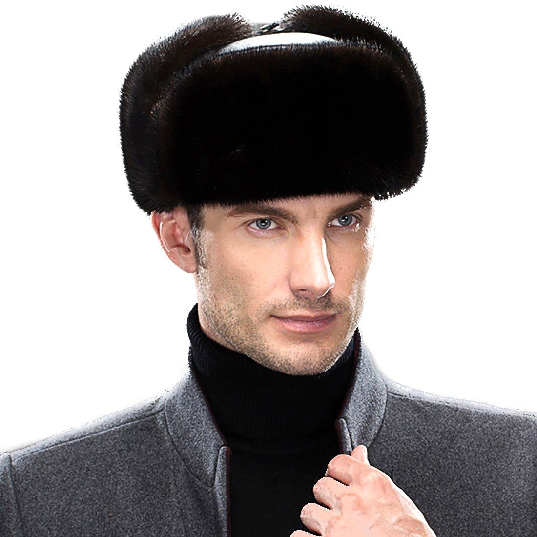 URSFUR Men's Leather & Mink Fur Russian Trooper Hat Caps