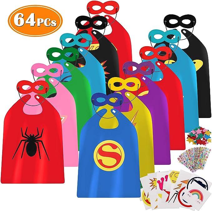 Lorfancy 64pcs Superhero Capes For Kids Costume Boys Children With Super Hero Toys Games Masks Stickers Superhero Classroom Decorations Birthday